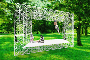 "Proposal for the ""Folly"" Architectural Design/Build Competition organized by the Socrates Sculpture Park and the Architectural League in New York. Our proposal is inspired by Peter Greenaway's The Draughtman's Contact (1982). It seeks to make visible the formal and metaphorical frames that structure our sense of reality and spatial experience."